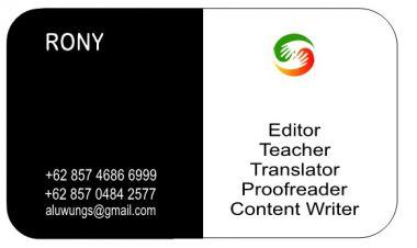 translate teks IND<=>ENG (10pages/Rp 15 per kata) proofread, editing,penyuntingan / penulisan artikel, teach English (all Levels), jurnalistik.