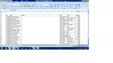 mengentry data ke Ms Excel