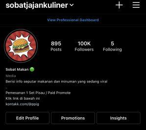 posting foto/video di ig @sobatjajankuliner dengan 100.000 follower