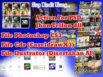 Burningkan Action Photoshop, Jhon telfon, Logo, Baground, Brosur, ID Card, Vector Desain dengan Psd, Cdr, serta Format Ilustrator ke 5 DVD.
