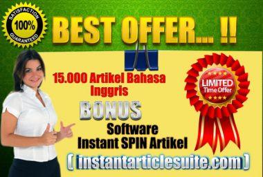 Kasih Elo 15.000 Artikel Bahasa Inggris BONUS Software Instant Spin Artikel