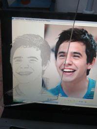 membuat sketsa wajah diatas media kaca