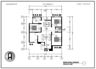 buat desain denah rumah 1 lantai dengan autocad