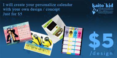 membuat design kalender (meja / dinding) sesukamu